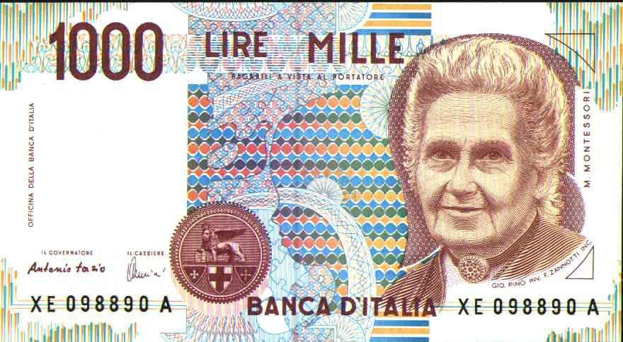 Il volto di Maria Montessori sulle vecchie mille lire